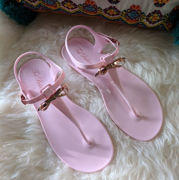 9972122433709 Ted Baker 8 pink jelly sandals rose gold bow NWOT